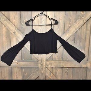 Open Shoulder Belle Sleeve Crop Top! ✨